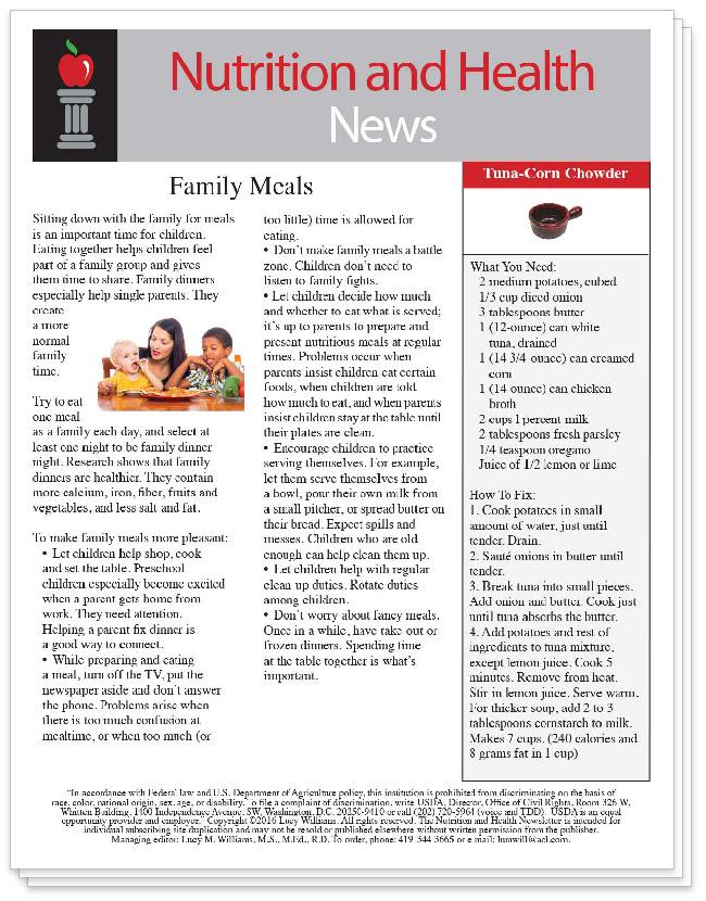 Preschool Newsletter Nutrition Consultants
